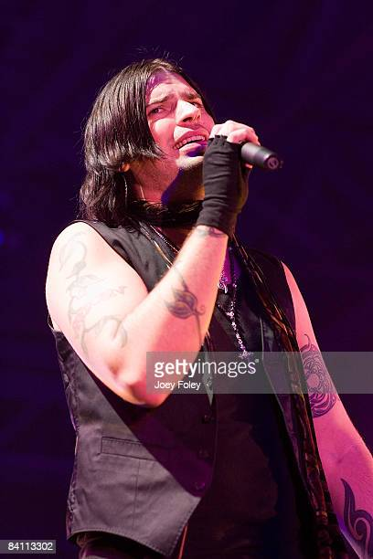 Lead vocalist Austin Winkler of the rock band Hinder performs in the Jagermeister tour at the Toyota Blue Ribbon Pavilion on December 22 2008 in...