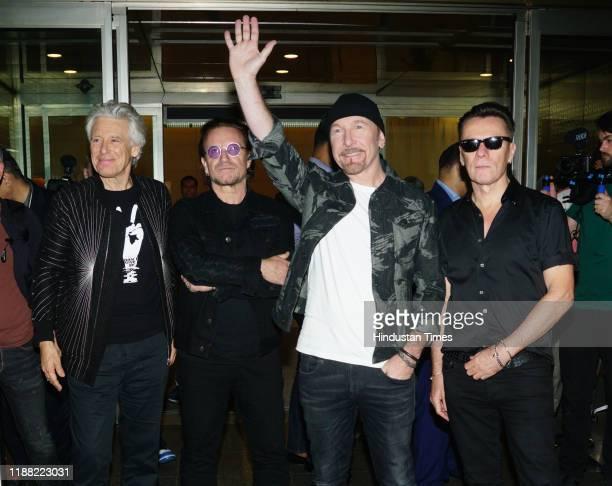 Lead vocalist Bono, lead guitarist and keyboard player The Edge, bass guitarist Adam Clayton and drummer Larry Mullen Jr. Of Irish rock band U2...