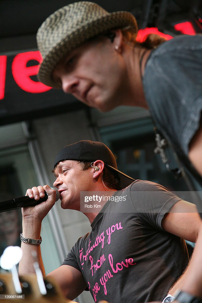 Lead vocalist Brad Arnold and bassist Todd Harrell of 3 Doors Down perform on u0027FOX  sc 1 st  Getty Images & Three Doors Down Performs On