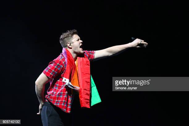 Lead vocalist Dan Reynolds of Imagine Dragons performs live on stage at The O2 Arena on February 28 2018 in London England