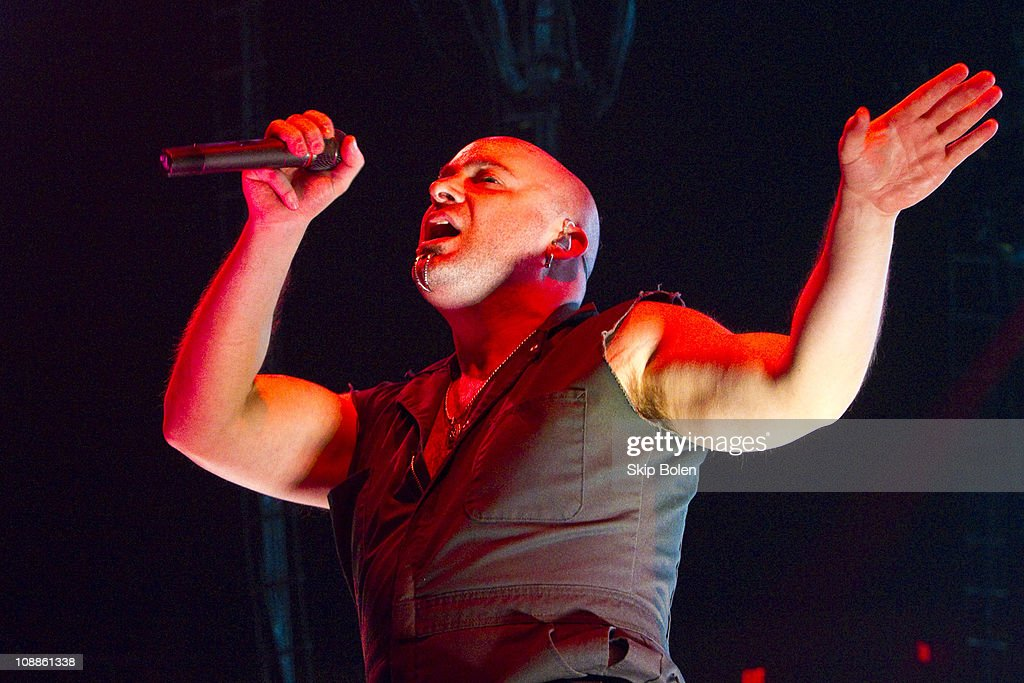 Lead vocalist David Draiman of Disturbed performs at the Mississipi Coast Coliseum on February 5, 2011 in Biloxi City.