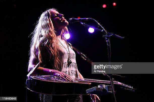 Lead vocalist Emily Robison of The Court Yard Hounds performs at Celebrate Brooklyn at the Prospect Park Bandshell on July 7 2011 in the Brooklyn...