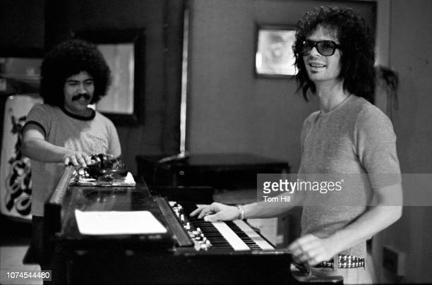 Manny Esparza vocalist for Los Angeles band Elijah works on their Sounds of the South album with their producer Al Kooper at Studio One in...
