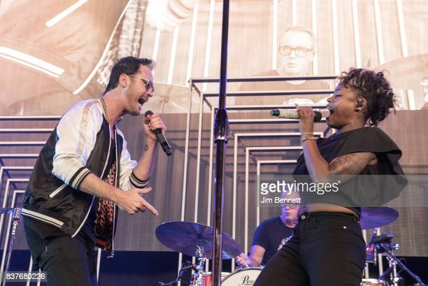 Lead vocalist Michael Fitzpatrick drummer and percussionist John Wicks and colead vocalist and percussionist Noelle Scaggs of Fitz and The Tantrums...