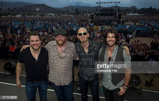 Lead vocalist Mike Eli lead guitarist James Young bass guitar player Jon Jones and drummer Chris Thompson of the Eli Young Band perform during...