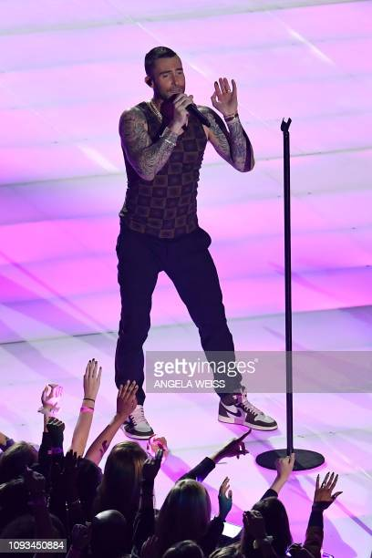 Lead vocalist of Maroon 5 Adam Levine performs during the halftime show of Super Bowl LIII between the New England Patriots and the Los Angeles Rams...