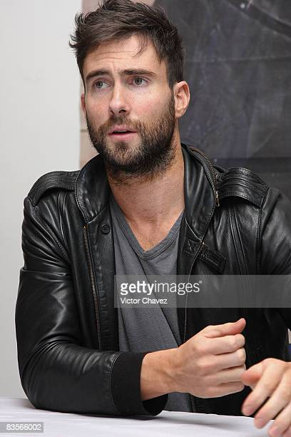 Lead vocalist of the group Maroon 5 Adam Levine attends a press conference to promote their new album 'Call and Response The Remix Album' and their...