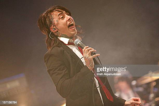 Lead vocalist Ronnie Radke of Falling In Reverse performs at The Wiltern on November 28 2012 in Los Angeles California