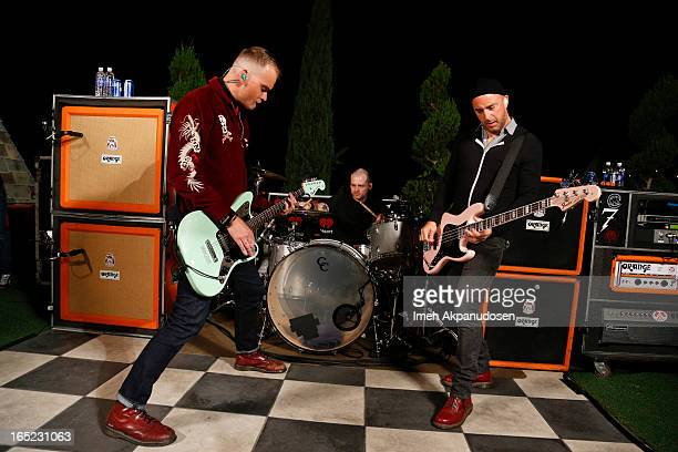 Lead vocalist/guitarist Matt Skiba vocalist/bassist Dan Andriano and drummer Derek Grant of Alkaline Trio perform at 987 FM's Penthouse Party Pad at...