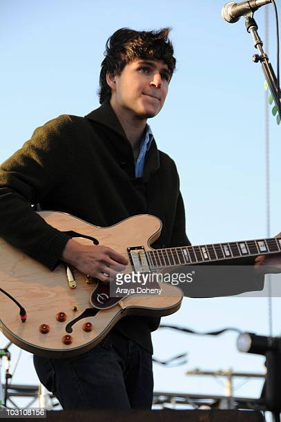 Lead vocals and guitarist Ezra Koenig of Vampire Weekend performs at the Treasure Island Music Festival on Treasure Island on September 21 2008 in...