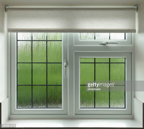 leaded glass bathroom window