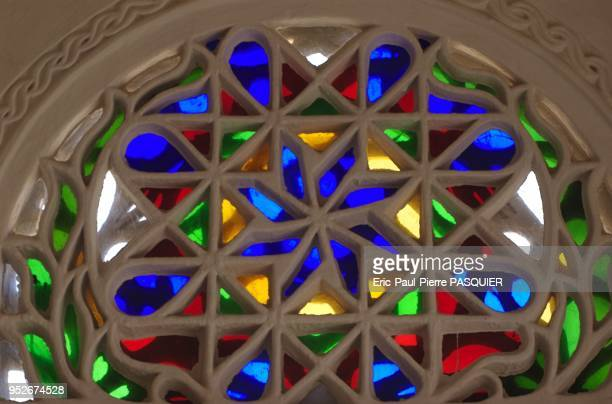 Leaded glass windows inside Dhar Al Hajjar in Bet Boz Also called Wadi Dhar palace it was the summer palace of Imam Al Mansouri and then Imam Yahya
