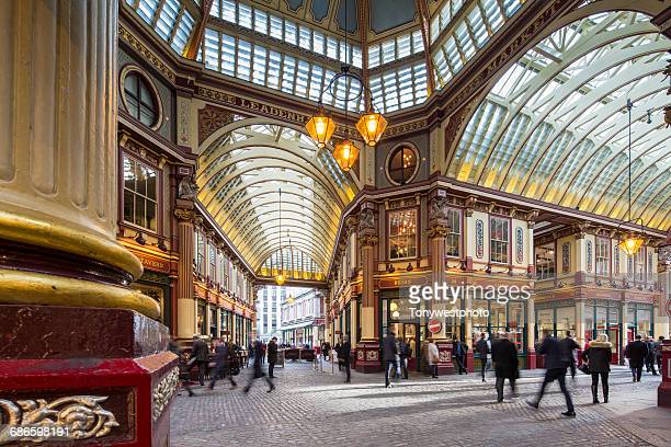 leadenhall market, city of london - leadenhall market stock photos and pictures
