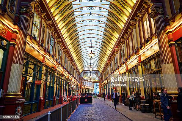 leadenhall market in london - leadenhall market stock photos and pictures