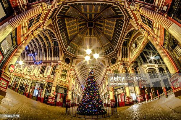 Leadenhall market London city architecture night photography fish eye. Christmas tree colour
