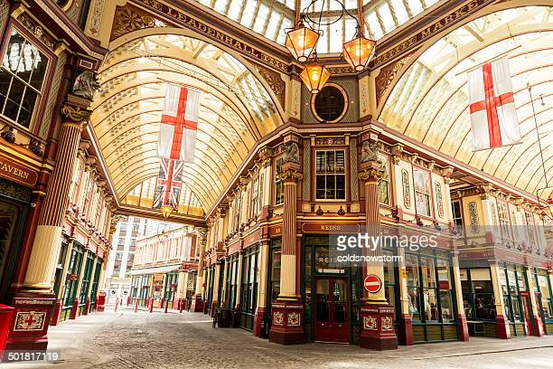 leadenhall market, london, uk - english flag stock photos and pictures