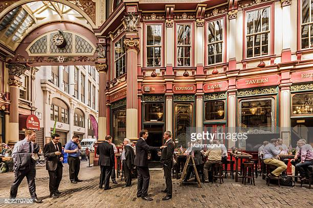 leadenhall market, people at lunch time - leadenhall market stock photos and pictures