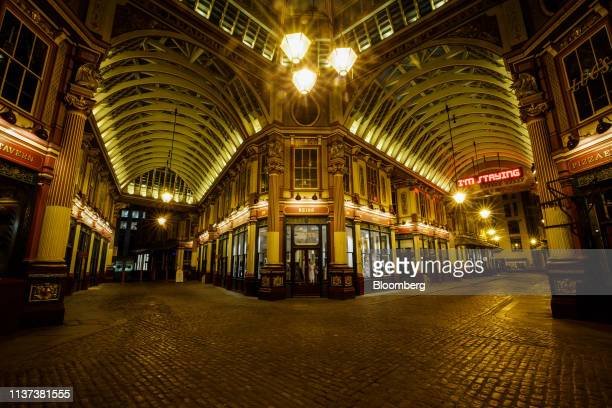 Leadenhall Market stands illuminated in the City of London UK on Monday April 15 2019 Job vacancies in Londons finance industry have halved in two...