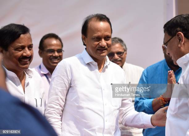 NCP leader Ajit Pawar and Sunil Tatkare during the Maharashtra State Assembly at Vidhan Bhavan on March 7 2018 in Mumbai India Opposition Congress...