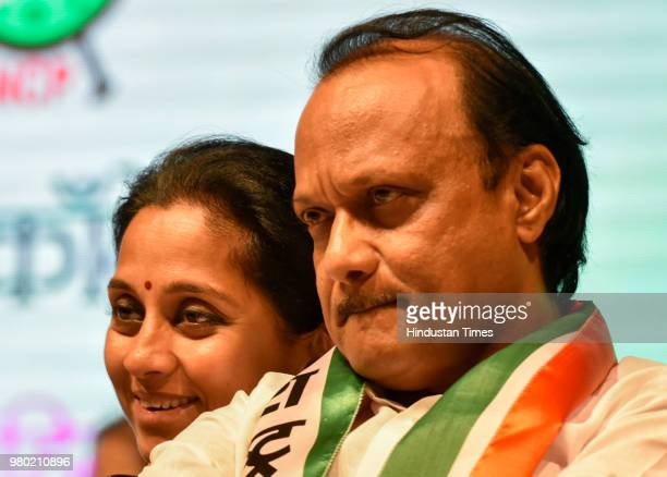 NCP leader Ajit Pawar and Supriya Sule at a 'Save the Constitution' meet held during the national convention of the NCP women's wing at the YB Chavan...