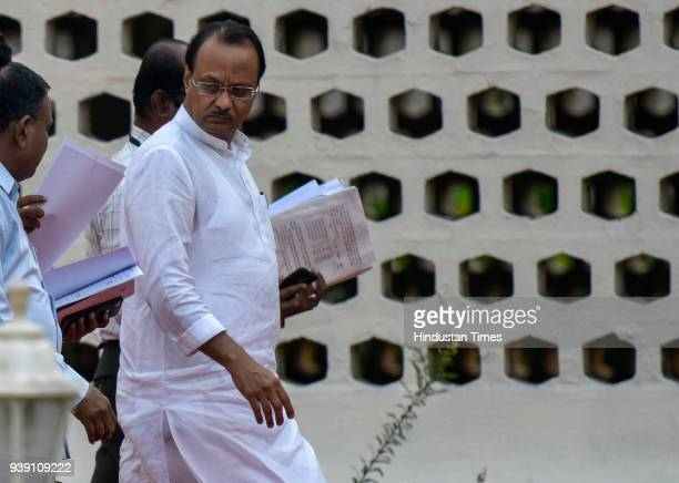 NCP leader Ajit Pawar during the Maharashtra State Assembly Session at Vidhan Bhavan on March 27 2018 in Mumbai India