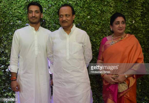 NCP leader Ajit Pawar during the MNS chief Raj Thackeray son Amit Thackeray's wedding St Regis Worli on January 27 2019 in Mumbai India
