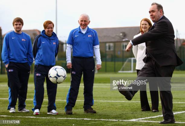 SNP leader Alex Salmond kicks a ball at Spartans Community Football Academyduring campaigning for the Scottish Parliamentary elections on March 30...