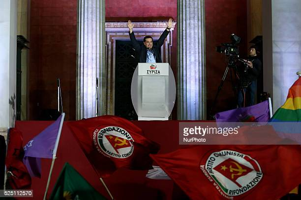 SYRIZA leader Alexis Tsipras addresses party supporters in front of the Athens University after the announcement of the winning result shortly before...