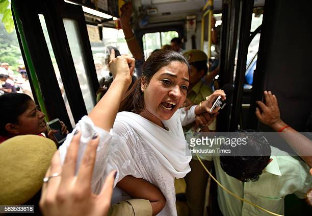 AAP leader Alka Lamba during the protest against Home Minister Rajnath Singh outside his residence on July 26 2016 in New Delhi India