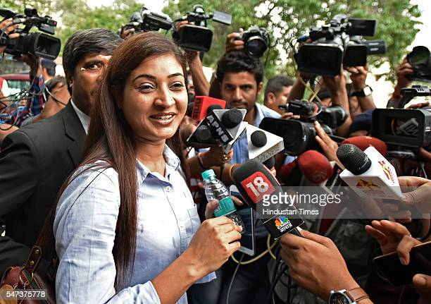 AAP leader Alka Lamba talking to media after meeting with Election Commissioner at Election Commission office on July 14 2016 in New Delhi India