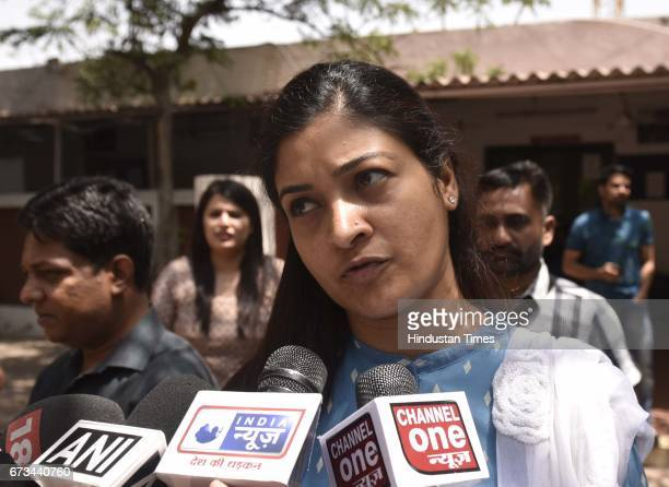 AAP leader Alka Lamba talking to media persons during the MCD 2017 election results at DDU Marg on April 26 2017 in New Delhi India It's a third term...
