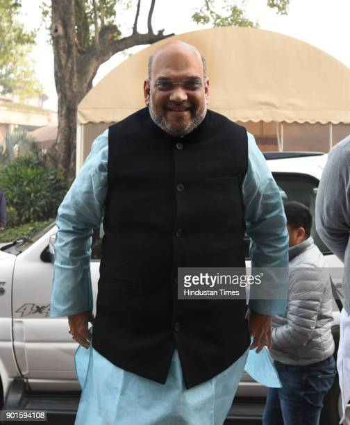 BJP leader Amit Shah during the last day of the parliament winter session at Parliament House on January 5 2018 in New Delhi India The last day of...