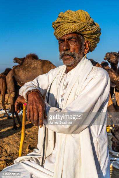 a leader amongst the camel traders in traditional white tunic, brightly coloured turban and gold earrings, his herd in the background, pushkar camel fair, pushkar, rajasthan, india (model release) - james strachan stock pictures, royalty-free photos & images