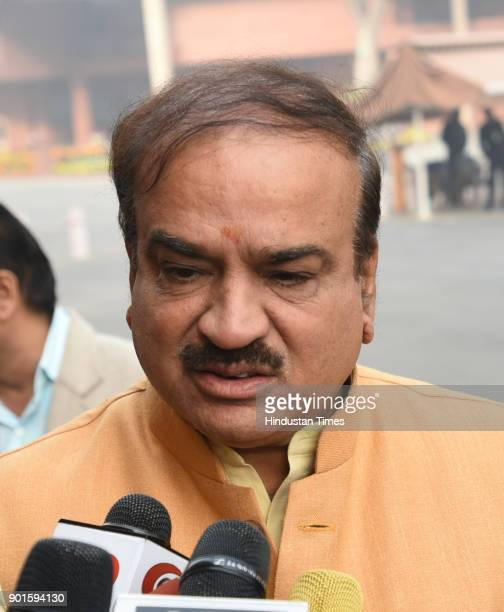 BJP leader Ananat Kumar during the last day of the parliament winter session at Parliament House on January 5 2018 in New Delhi India The last day of...