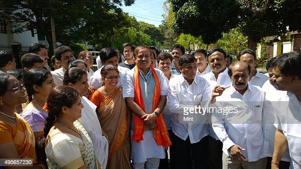 BJP leader Ananth Kumar going to file his nomination papers at the Bangalore Mahanagara Palike office against political newbie Nandan Nilekani for...