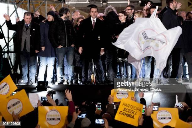 Leader and Candidate of Five stars Movement Luigi di Maio attend the closing rally of the italian electoral campaign in Piazza del Popolo on March 2...