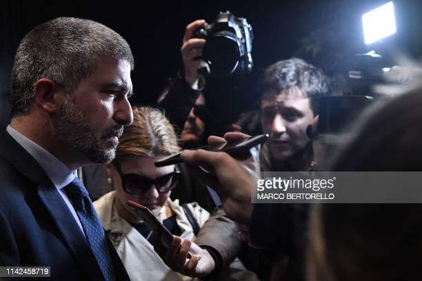 Leader and candidate of Italian neo-fascist political party CasaPound in the upcoming European elections, Simone di Stefano addresses the media...