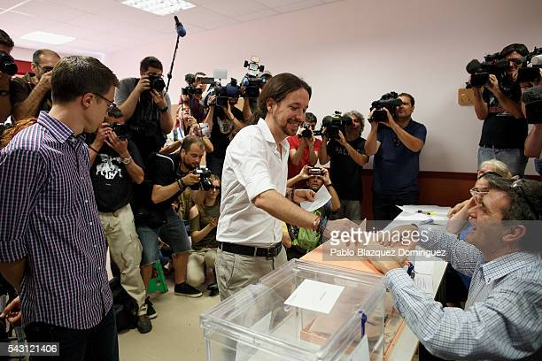 Leader and candidate of left wing alliance party Unidos Podemos 'United We Can' Pablo Iglesias casts his vote during the Spanish General Elections on...