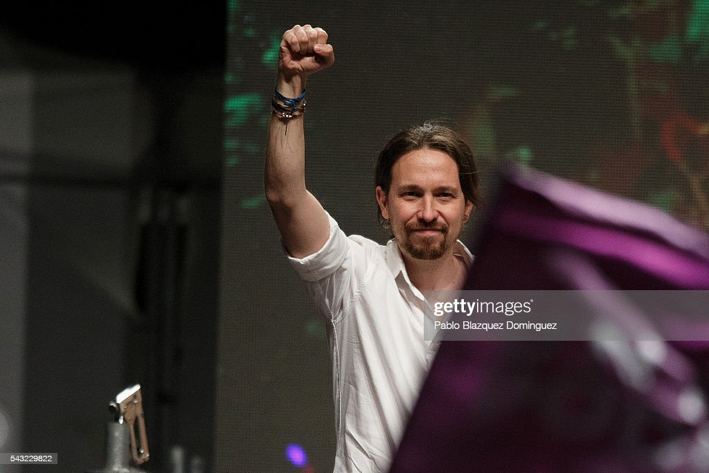 Leader and candidate of left wing alliance party Unidos Podemos 'United We Can' Pablo Iglesias acknowledges his supporters after learning the final general elections results on June 26, 2016 in Madrid, Spain. Spanish voters head back to the polls after the last election in December failed to produce a government. Latest opinion polls suggest the Unidos Podemos left-wing alliance could make enough gains to come in second behind the ruling center right Popular Party.