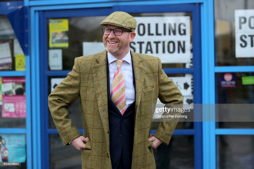 UKIP leader and candidate Paul Nuttall leaves the polling station after voting in the Stoke Central by-election on February 23, 2017 in Stoke-on-Trent, England. Voting has begun in the Stoke-On-Trent Central by-election which was called after sitting Labour MP Tristram Hunt resigned from his seat to be a museum director. The seat has always been a Labour stronghold but will see fierce competition from The United Kingdom Independence Party (UKIP) as they target people who voted for Brexit and the tradtional Labour working classes.