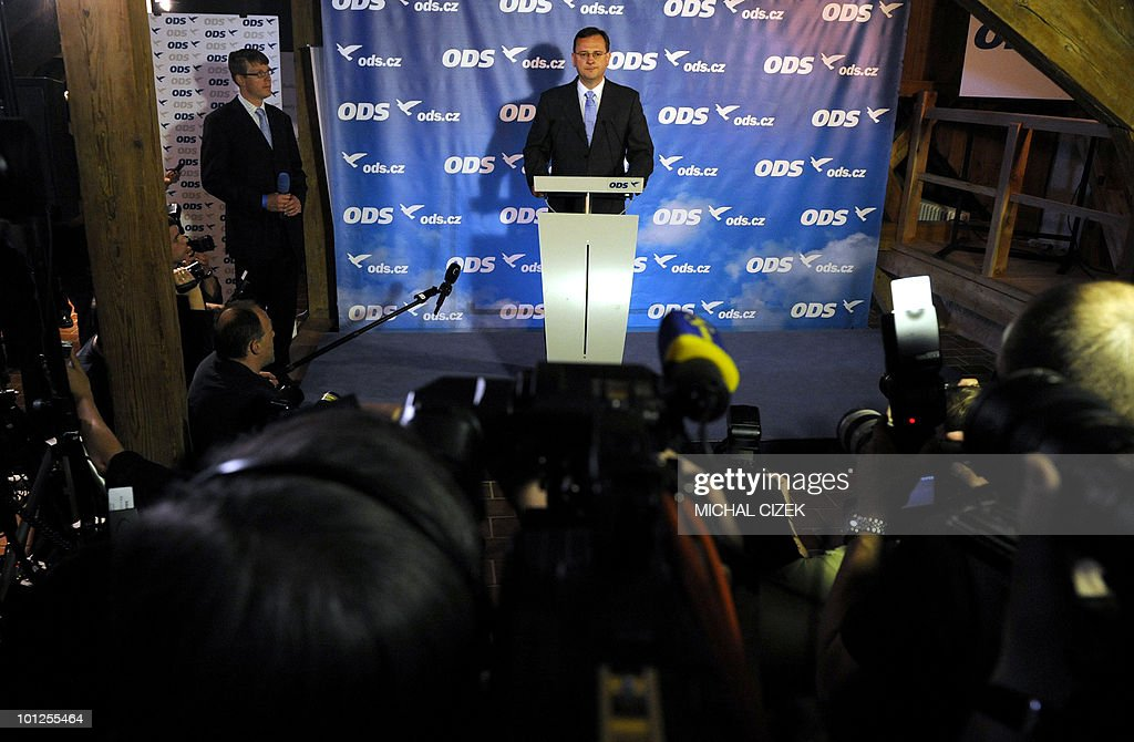 Leader and Chairman of the Czech Civic Democratic Party (ODS), Petr Necas delivers a speech during a press conference after the first exit polls for the Czech general elections on May 29, 2010 in Malostranska Beseda in Prague. Left-wing Social Democrats and right-wing Civic Democrats came neck-and-neck in the Czech general election Saturday, exit polls showed, in a surprise outcome that paves the way for a coalition government. PHOTO