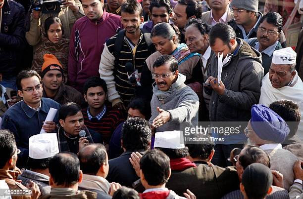 AAP leader and Delhi Chief Minister designate Arvind Kejriwal called a public meeting at his party office Kaushambi area on December 26 2013 in...