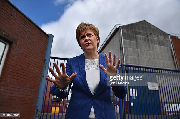 SNP leader and First Minister Nicola Sturgeon arrives at BAE Systems in Govan to meet with Trade Union representatives on April 25 2016 in...