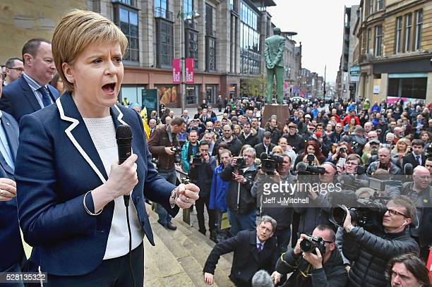 SNP leader and First Minister of Nicola Sturgeon holds her final party rally in Buchanan Street on May 4 2016 in Glasgow Scotland Political party...