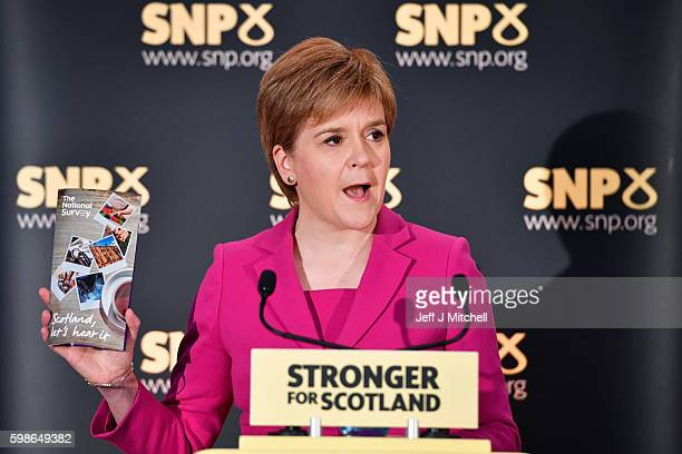 SNP leader and First Minister of Scotland Nicola Sturgeon delivers a speech to party members at the launch of a listening exercise to gauge support...