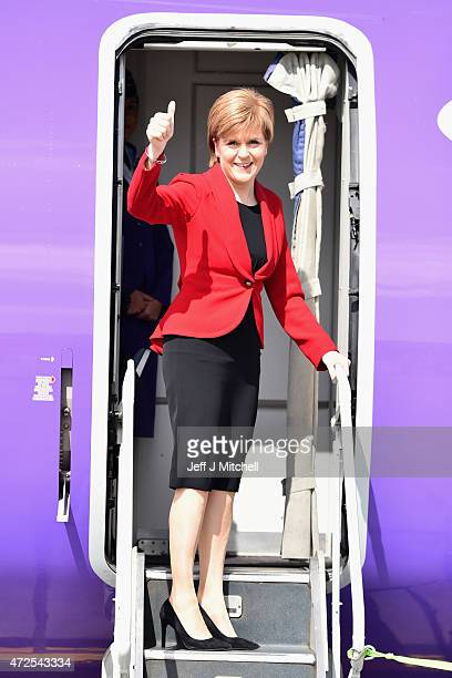SNP leader and First Minister of Scotland Nicola Sturgeon departs Edinburgh ahead of attending the 70th anniversary of VE Day commemorations in...
