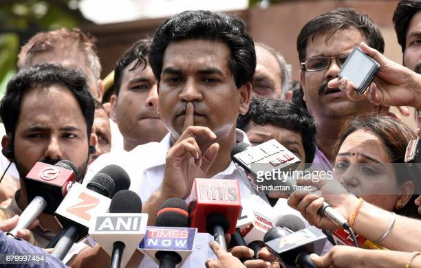 AAP leader and former Delhi Water and Tourism Minister Kapil Mishra during a press conference says Chief Minister Arvind Kejriwal took Rs 2 crore...