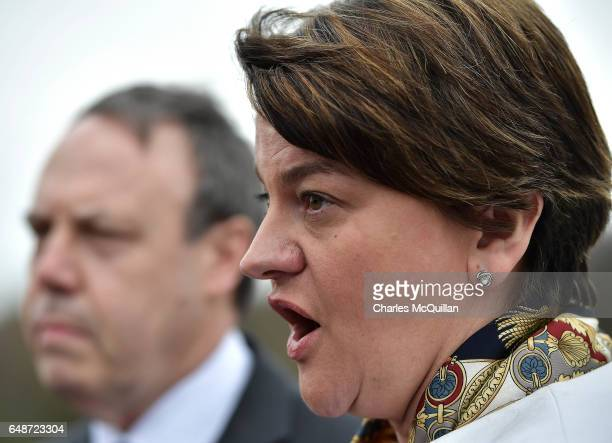 Leader and former First Minister Alene Foster talks to the gathered media alongside Nigel Dodds during a press call at Stormont on March 6, 2017 in...