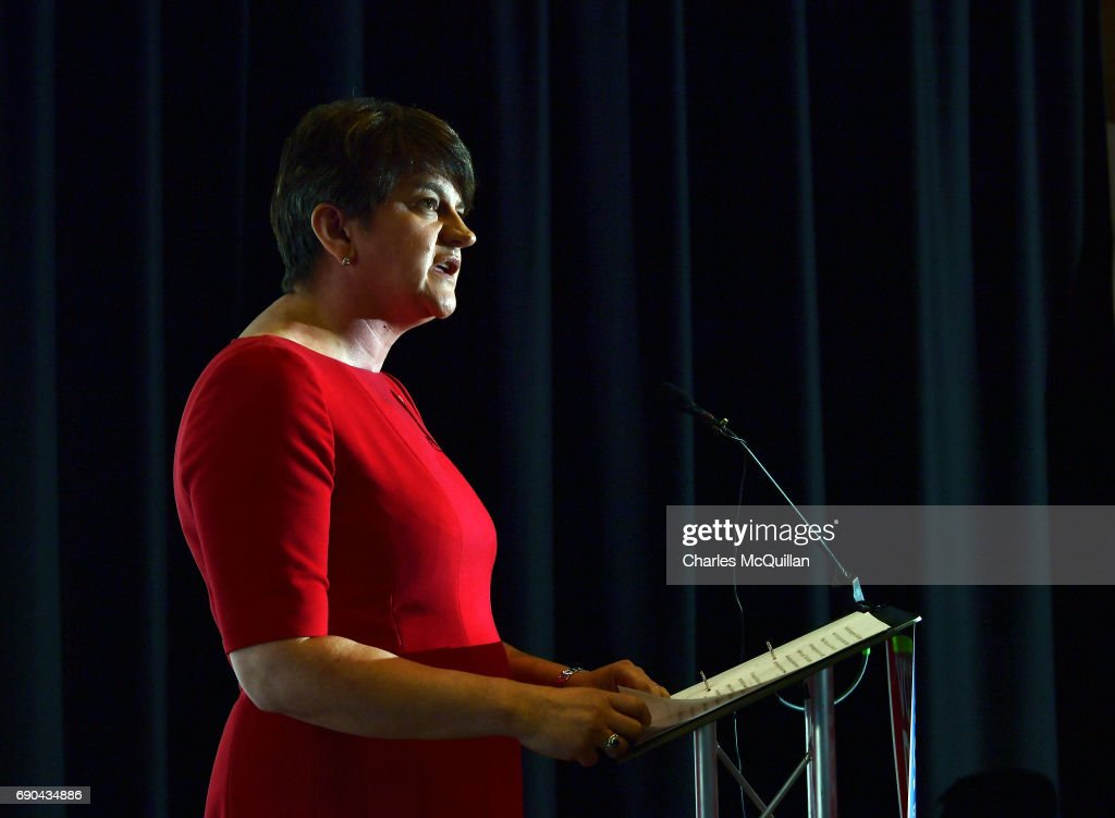 DUP leader and former First Minister Arlene Foster addresses the gathered media as the Democratic Unionist party launch their manifesto at the Old Courthouse on May 31, 2017 in Antrim, Northern Ireland. Candidates for the general election face an uncertain campaign against the backdrop of Brexit, Northern Ireland provides the only hard border between the UK and Europe and also the Stormont Assembly's ongoing stalemate due to the political deadlock between the local parties.