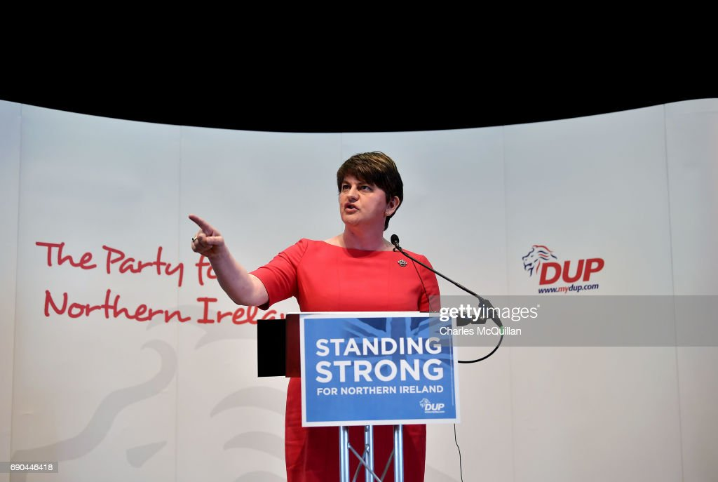 DUP leader and former First Minister Arlene Foster addresses the gathered media as the Democratic Unionist party launch their election manifesto at the Old Courthouse on May 31, 2017 in Antrim, Northern Ireland. Candidates for the general election face an uncertain campaign against the backdrop of Brexit, Northern Ireland provides the only hard border between the UK and Europe and also the Stormont Assembly's ongoing stalemate due to the political deadlock between the local parties.